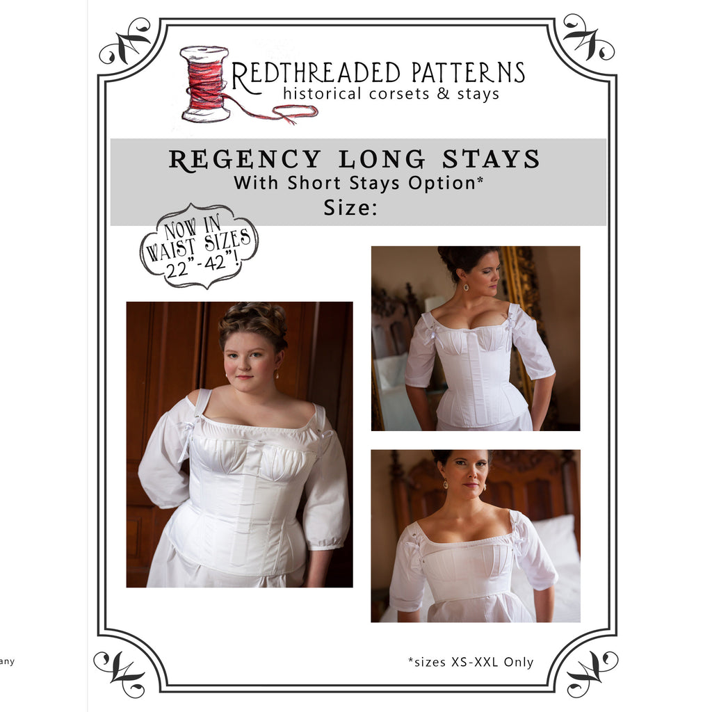 Regency Stays Pattern -- Individually Sized Paper Pattern