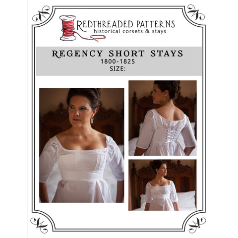 Regency Short Stays Pattern -- Individually Sized Paper Pattern