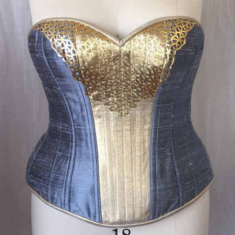 "Silk & Leather Hourglass Corset -- Plus Size 20 (36"" waist)"