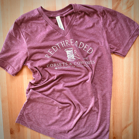 V-Neck Redthreaded T-Shirt - Unisex - Heathered Mulberry