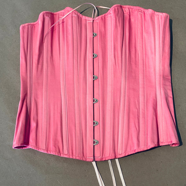 Pink Dyed 1880's Victorian Corset size L