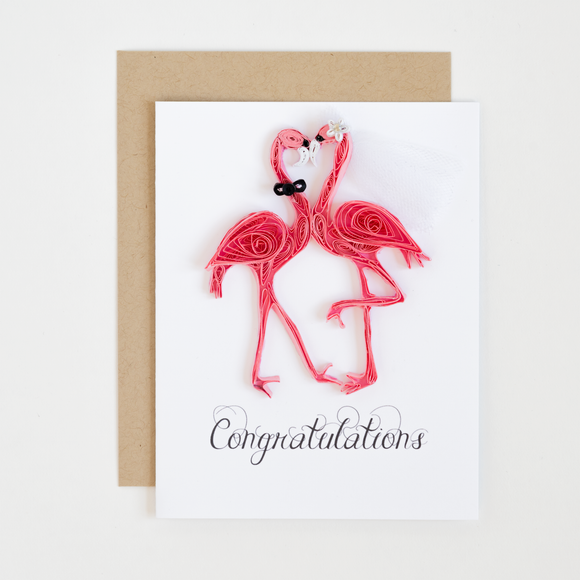 Flamingo Wedding Congrats Card
