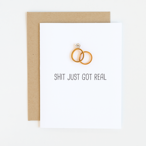 Funny Wedding Card - Shit Just Got Real