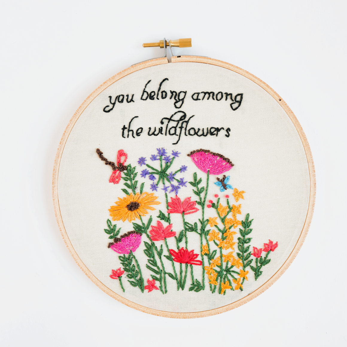 you belong among the wildflowers embroidery art