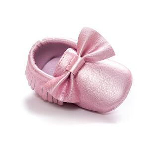 Baby Pink Metallic Big Bow Moccasin - Eskimo Kisses Boutique