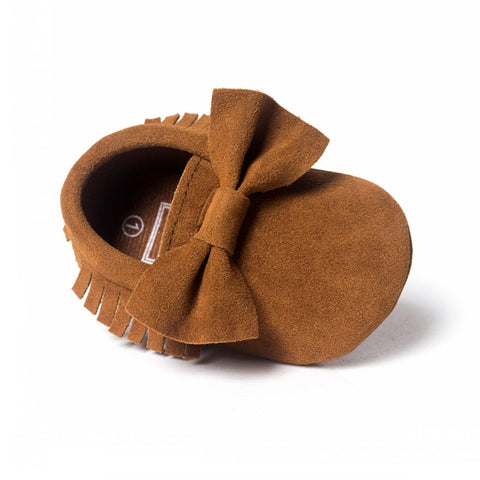 Brown Natural Big Bow Moccasin - Eskimo Kisses Boutique