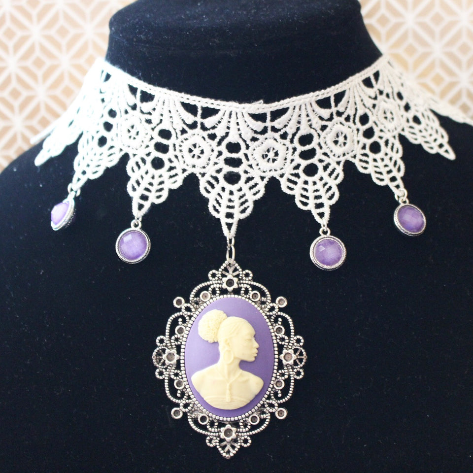Vintage cameo style African-American lace choker/Free Shipping