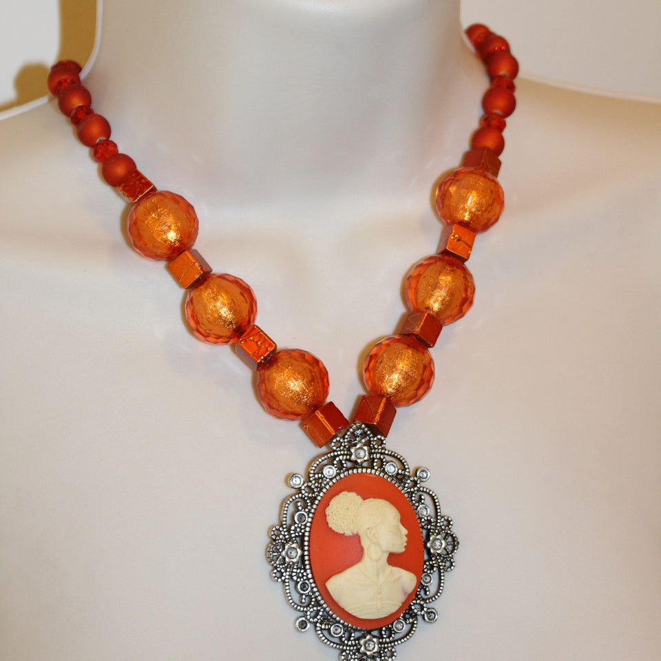 Vintage Cameo Beaded Necklace/Free Shipping