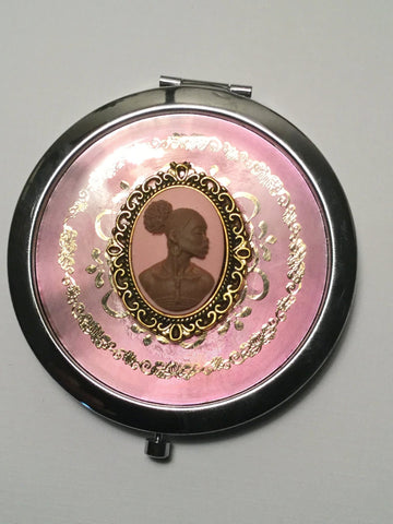 Brown and pink cameo mirror compact /free shipping - Oracle Jewelry - 1