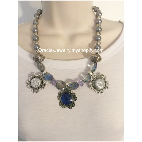 Blue and Sliver Flower Statement Necklace - Oracle Jewelry - 1