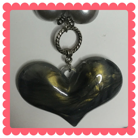 Acrylic gray heart /Free Shipping - Oracle Jewelry - 1