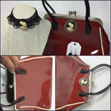 Red  patent leather Cameo Vintage Handbag