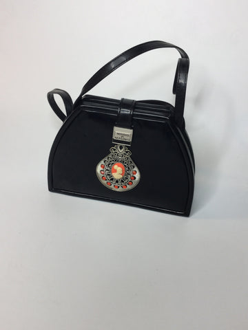 Black and Orange Vintage Cameo Handbag