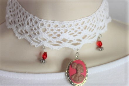 Pink Lace  Cameo Choker Locket Necklace/Free Shipping