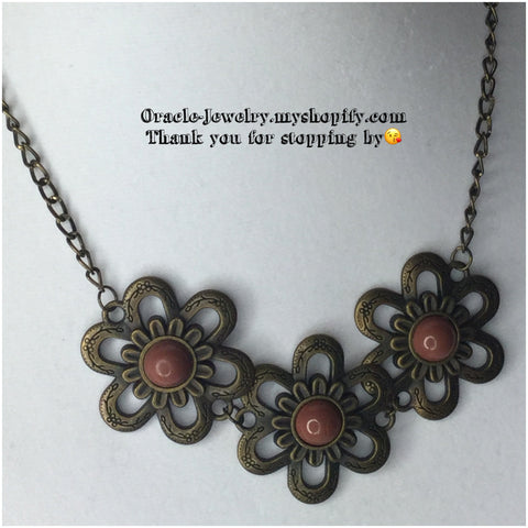 Bronze Flower Necklace/Free Shipping