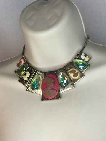 Multicolor cameo necklace/free shipping