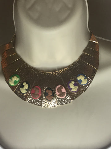 Multicolored gold cameo necklace/Free shipping