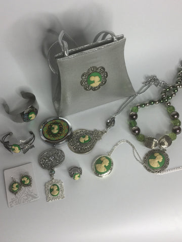 Green Cameo Set/Free Shipping