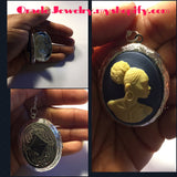 Blue Cameo Locket Necklace/Free Shipping - Oracle Jewelry - 1