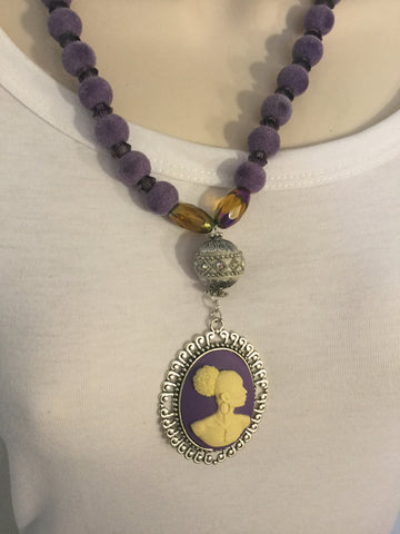 Purple Cameo Vintage Necklace/Free Shipping - Oracle Jewelry - 1