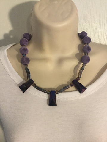 Purple and Glass Statement Necklace - Oracle Jewelry - 1