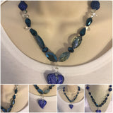 Blue Glass Statement Necklace/Free Shipping