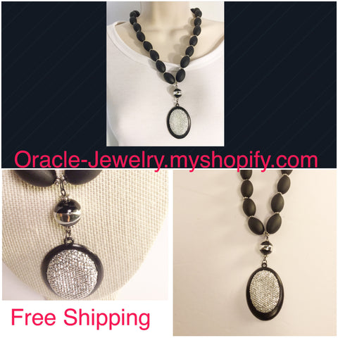 Black And Sliver Cameo Necklace - Oracle Jewelry - 1