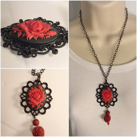 Black And Red Vintage Rose Cameo/Free Shipping - Oracle Jewelry - 1