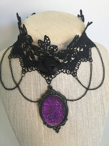 Purple Vintage Cameo Lace Choker/Free Shipping - Oracle Jewelry - 1
