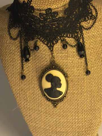 Vintage lace black cameo choker/Free Shipping - Oracle Jewelry - 1