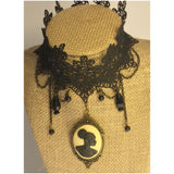 Vintage lace black cameo choker/Free Shipping - Oracle Jewelry - 3