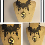 Vintage lace black cameo choker/Free Shipping - Oracle Jewelry - 4