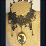 Vintage lace black cameo choker/Free Shipping - Oracle Jewelry - 5