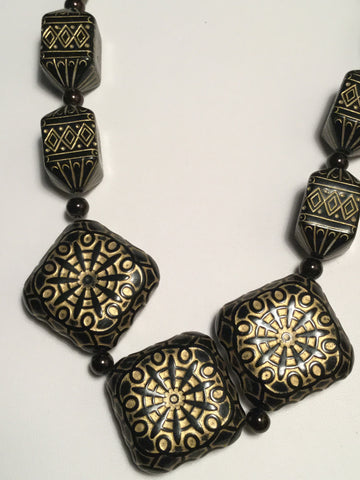Black and Gold Statement Necklace - Oracle Jewelry - 1