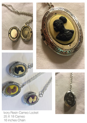 Vintage Ivory Cameo locket/Free Shipping - Oracle Jewelry - 1