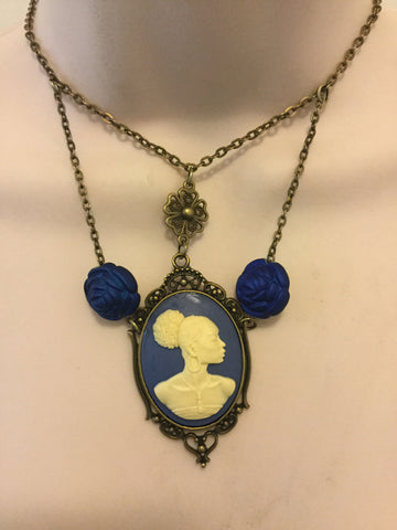 Blue and Bronze Vintage Cameo Necklace/Free Shipping - Oracle Jewelry - 1
