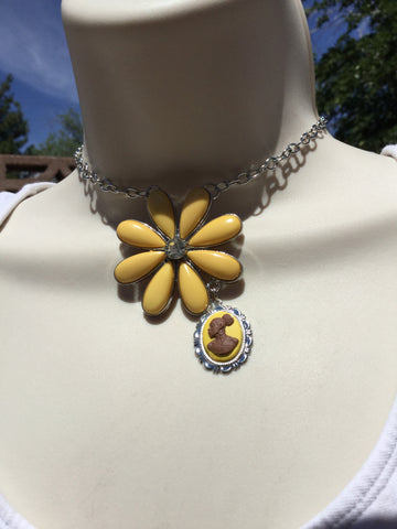 Vintage Yellow Flower Cameo Necklace/Free Shipping - Oracle Jewelry - 1