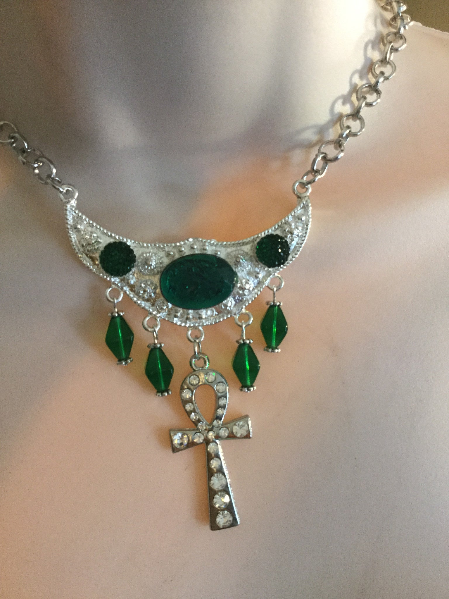 Green Egyptian Ankh Necklace/Free Shipping