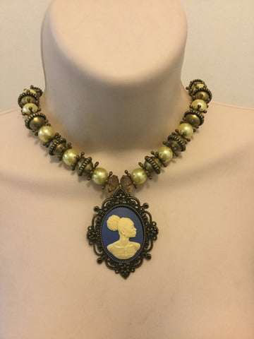 Pearl and Bronze Beaded Vintage Cameo Necklace/Free Shipping - Oracle Jewelry - 1