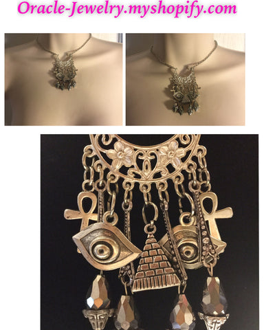 Egyptian Junk Sliver Statement Necklace/Free Shipping - Oracle Jewelry - 1