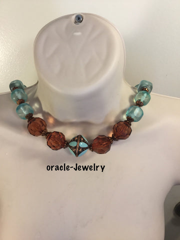 Turquoise and bronze necklace  Necklace/Free Shipping - Oracle Jewelry - 1
