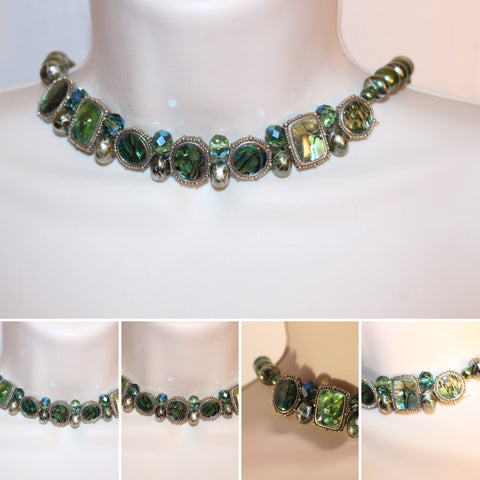 Green acrylic beads Necklace/Free Shipping - Oracle Jewelry