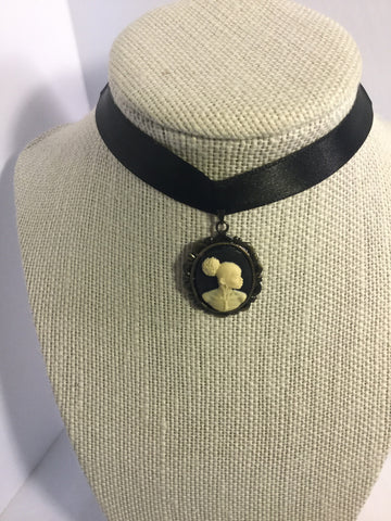 Black Vintage Cameo Choker/Free Shipping - Oracle Jewelry - 1