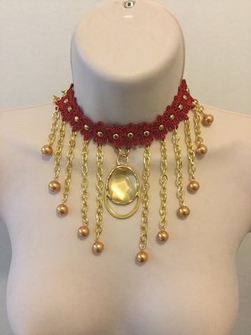 Red and Gold Necklace/Free Shipping - Oracle Jewelry