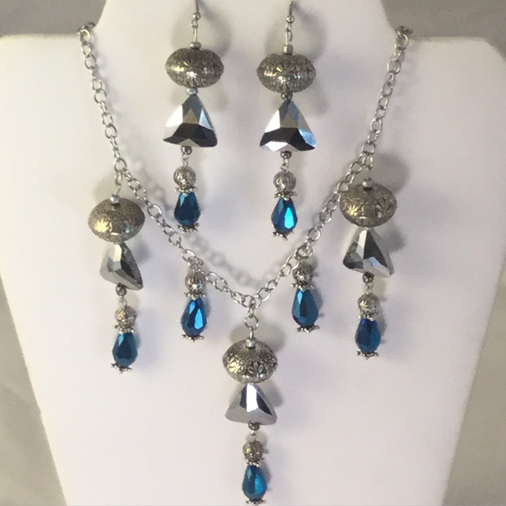 Blue Egyptian Style Necklace/Free Shipping