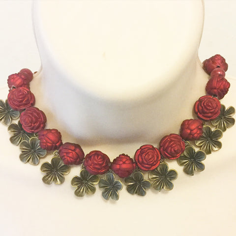 Red and Bronze with flower Necklace /Free Shipping - Oracle Jewelry - 1