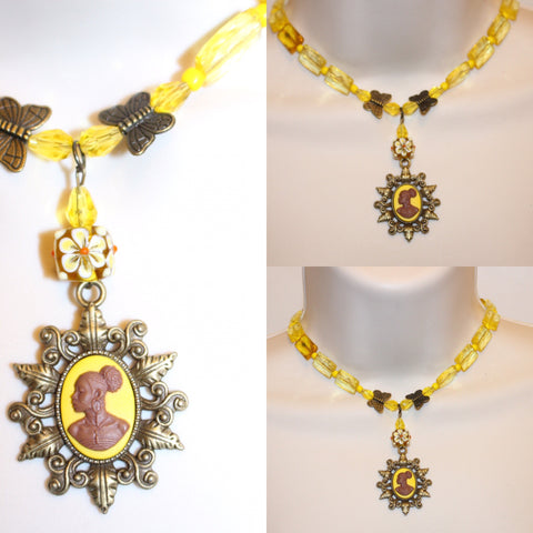 Yellow and Bronze Butterfly cameo Necklace/Free Shipping - Oracle Jewelry