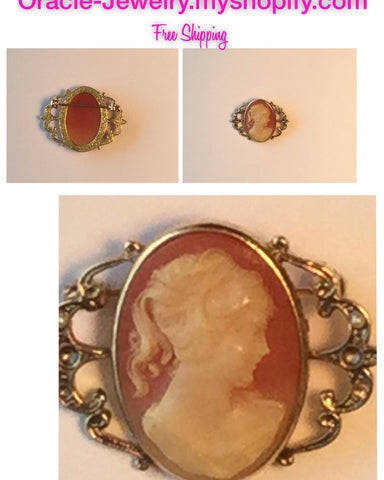 Vintage Cameo  brooch /Free Shipping - Oracle Jewelry - 1