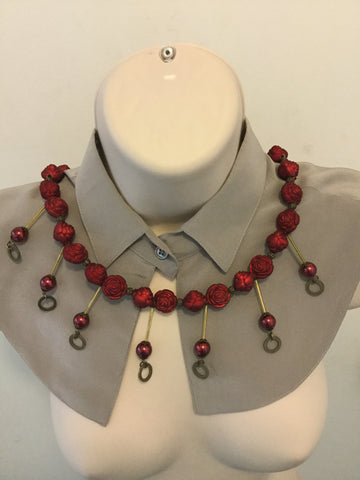 Red And Bronze Egyptian Style Necklace/Free Shipping - Oracle Jewelry - 1