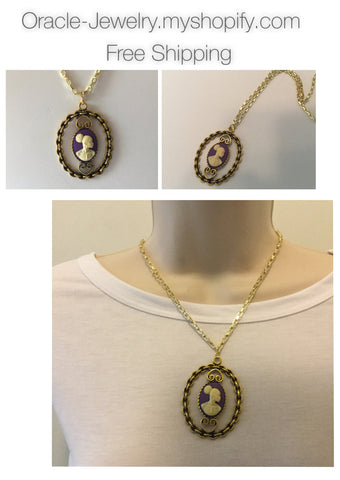 Purple Vintage Cameo necklace/Free Shipping - Oracle Jewelry - 1